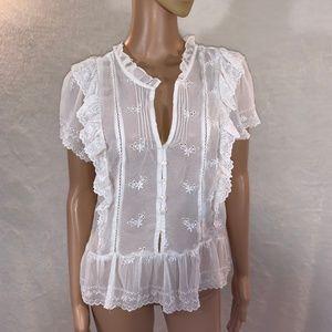 H&M women's blouse size 12 v-neck short sleeve